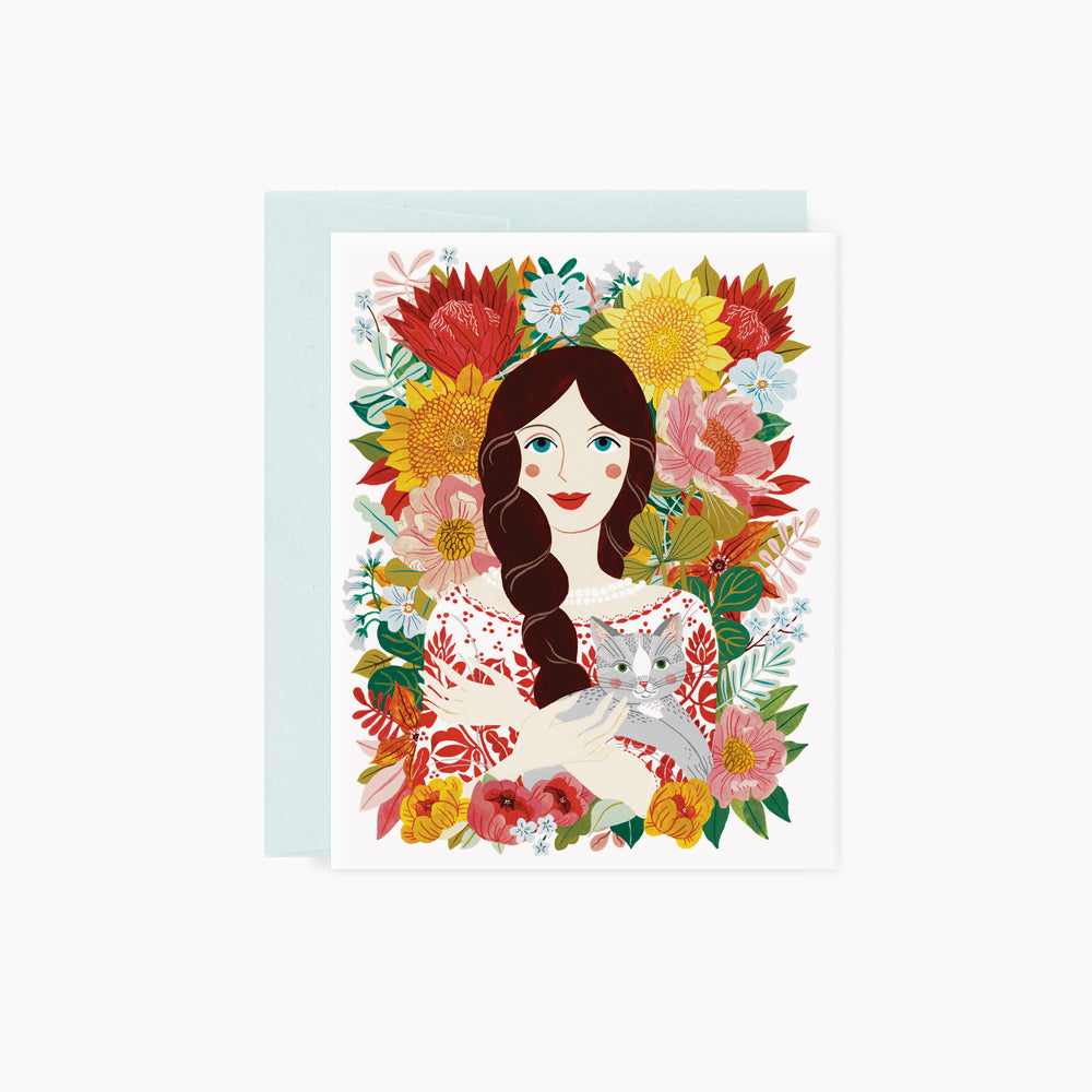 Girl & Cat | card
