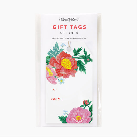 Peonies Gift Tags | Set of 8