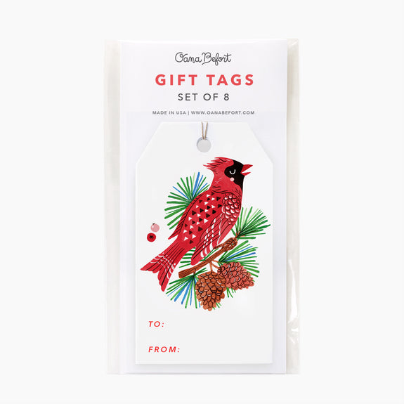 Red Cardinal Gift Tags | Set of 8