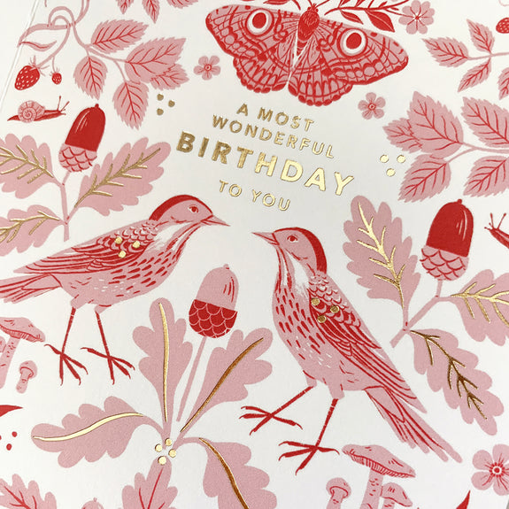 Flora & Fauna Birthday | gold foil