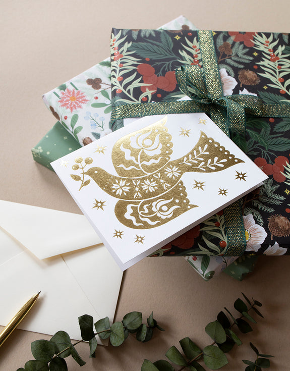 PEACE DOVE holiday card | gold foil