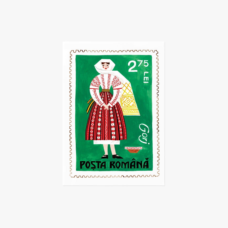 Romanian Lady Stamp | mini art print