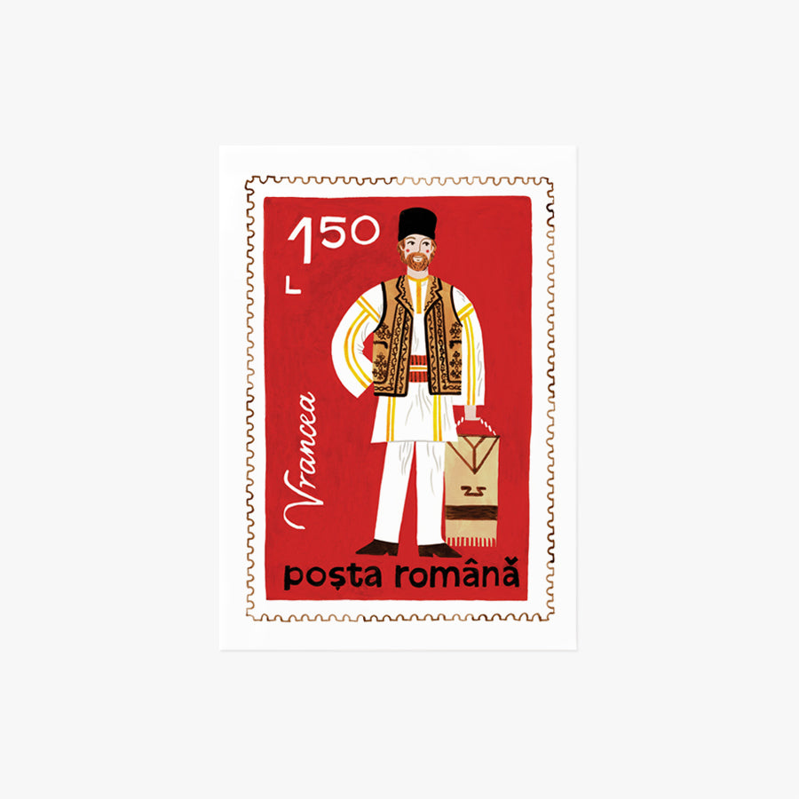 Romanian Man Stamp | mini art print