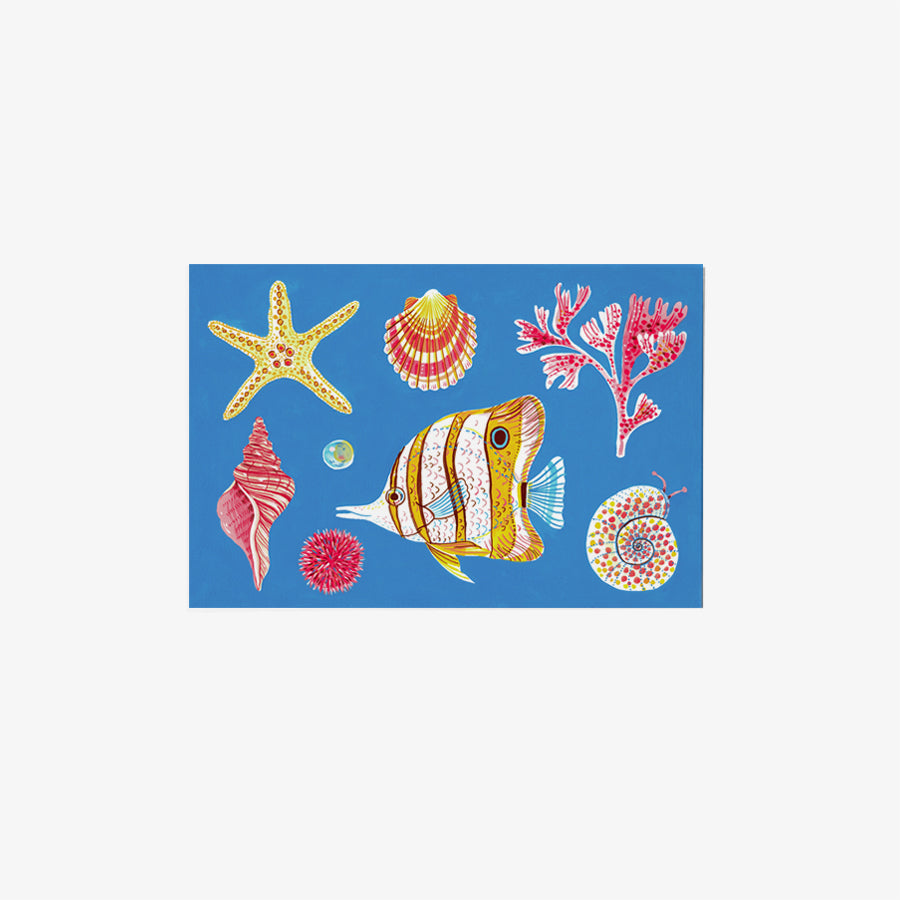 Blue Sea Creatures | single postcard