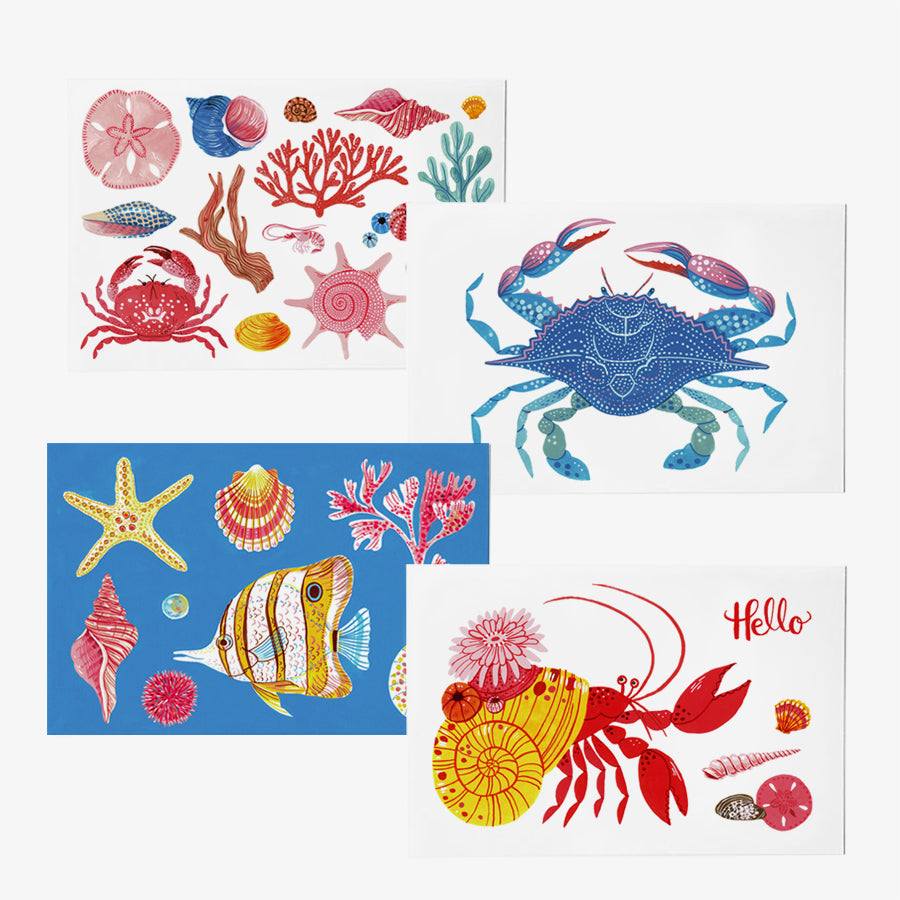 Sea Creatures | Set of 4 postcards