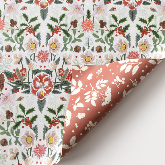 CHRISTMAS ROSE | Double Sided Gift Wrap