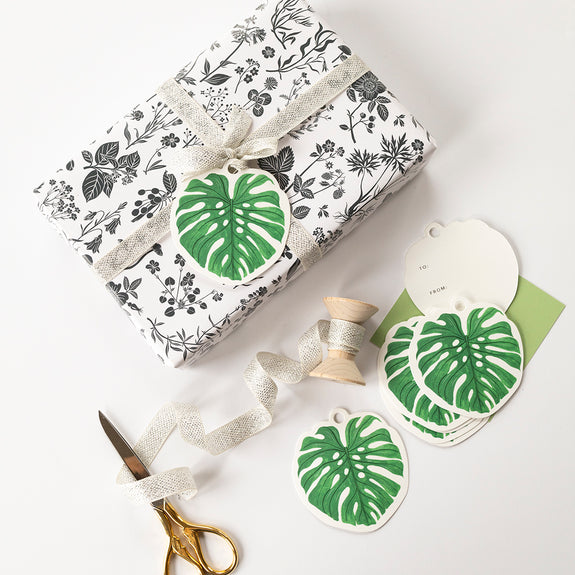 Monstera die-cut gift tags | Set of 8