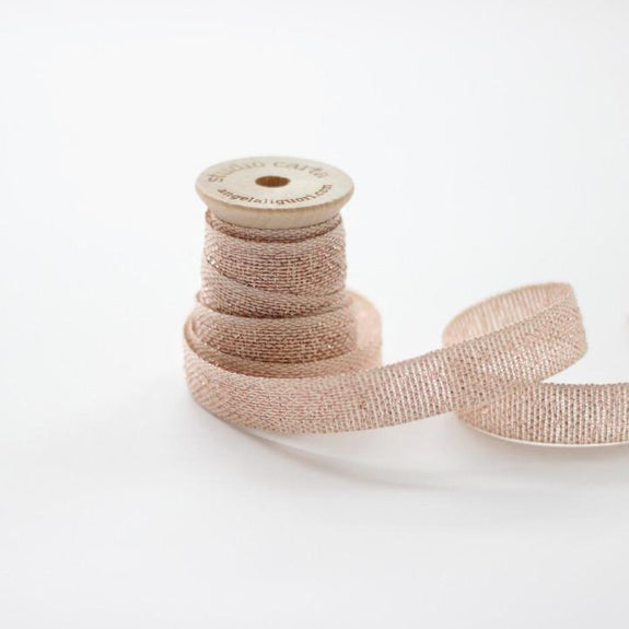 METALLIC LOOSE WEAVE RIBBON | natural & rose gold