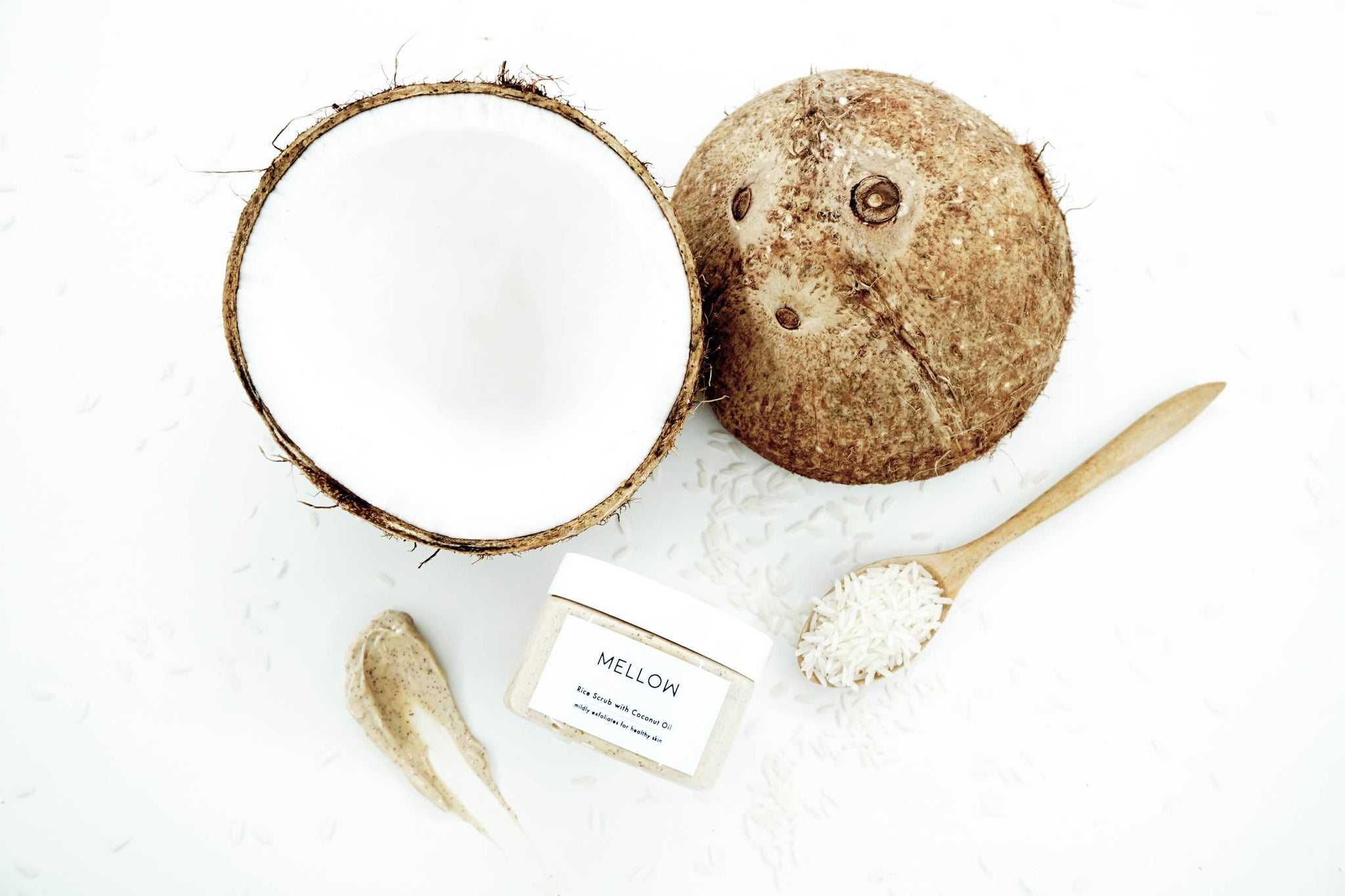 natural coconut rice scrub