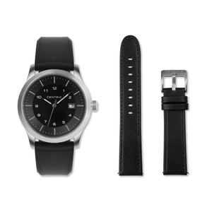 Black Field Watch Double Strap Set