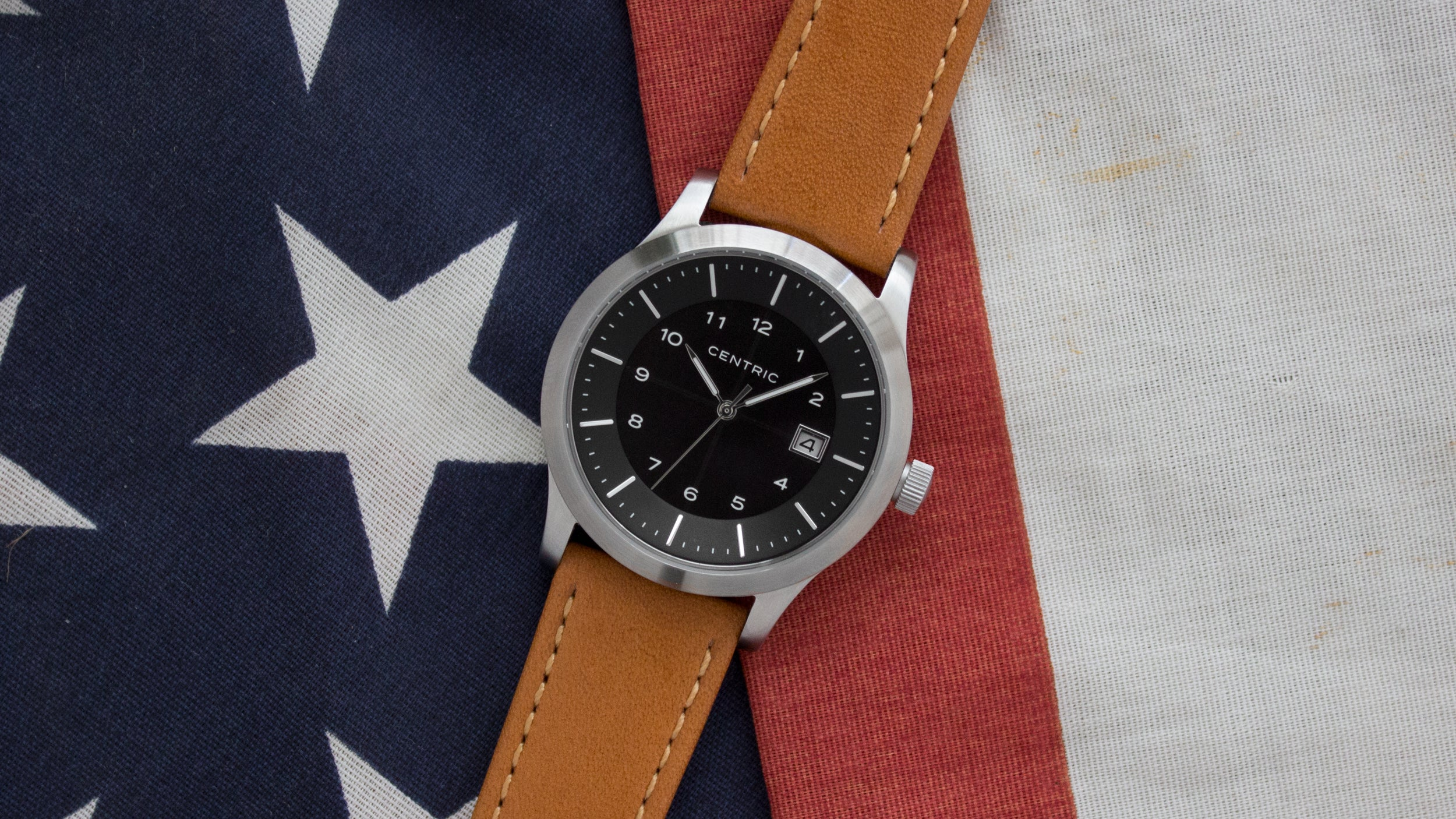 Black Field Watch Classic Leather Strap