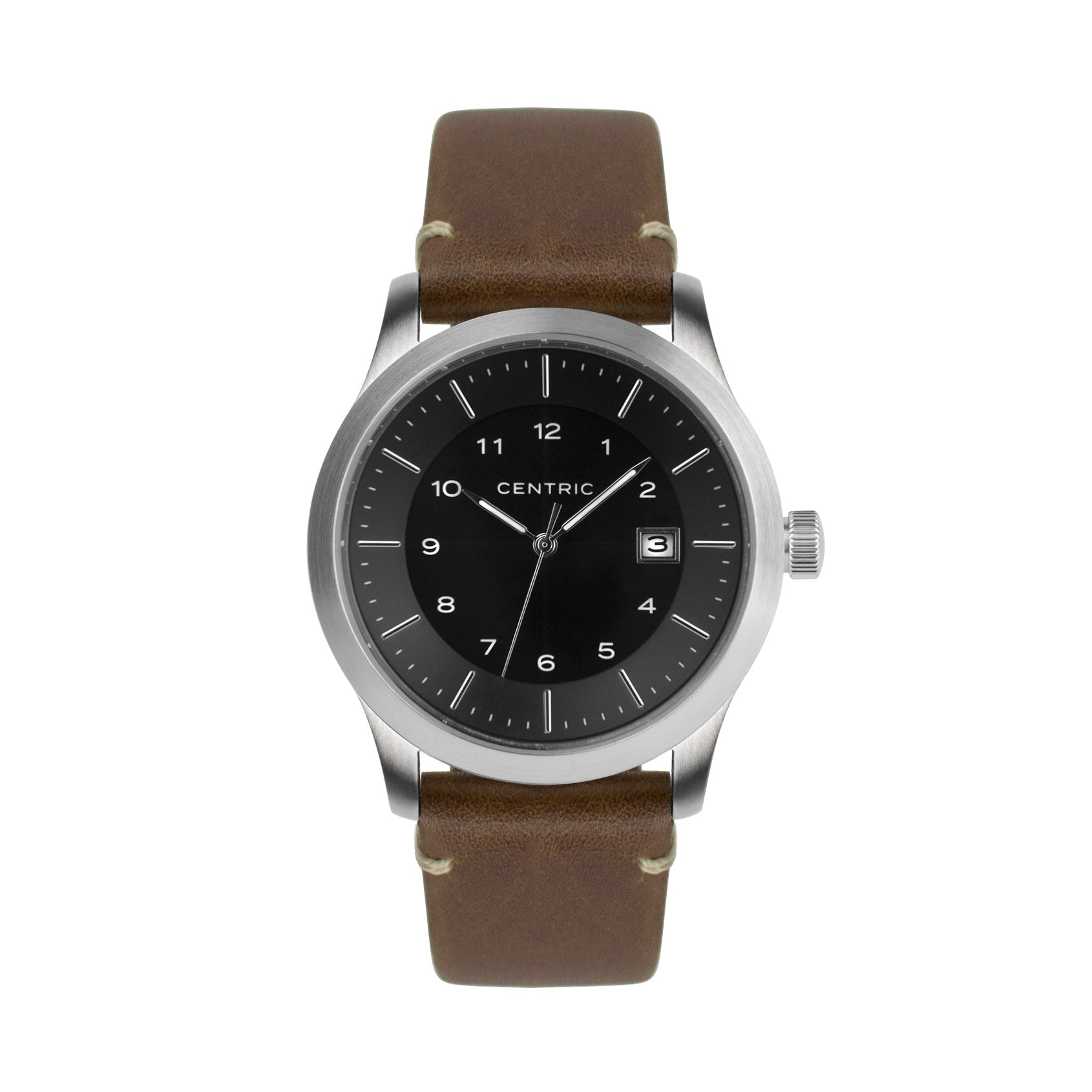 Black Field Watch Modern Leather Strap