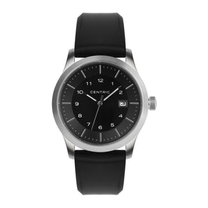 Black Field Watch Silicone Rubber Strap
