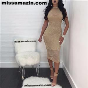 Sleeveless Sparkling Mesh Party Dress with Inner Lining