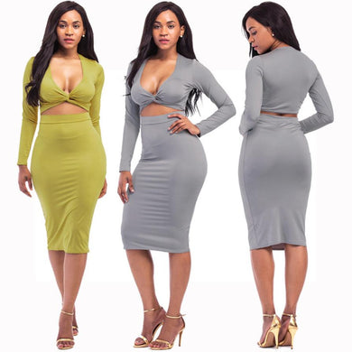 V Neck Long Sleeve Top Bodycon Two Piece Party Dress
