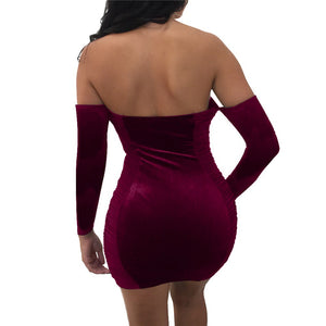Off the Shoulder Long Sleeve Velvet Slash Neck V Cut Lace Up Ruched Bodycon Party Dress