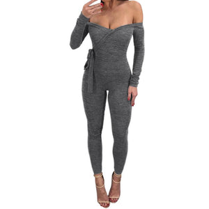 Long Sleeve Deep V Off Shoulder Sexy Skinny Slim Jumpsuit Bodysuit