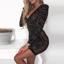 Sheath Mesh  Deep V Neck Long Sleeves Bodycon Celebrity Party Dress