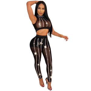 Mesh 2 Piece Crop Top + Pants Set