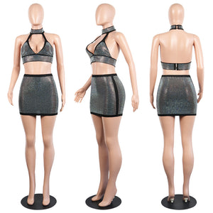 Shimmering Sleeveless Two Piece Deep V Neck Open Back Halter Crop Top + Bodycon Mini Skirt Set