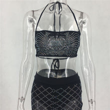 Two Piece Strapless Halter Lace Up Crop Top + Sheer Mesh Pants Set