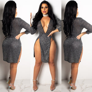 High Slit Deep V Neck 3/4 Sleeve Clelebrity Party Dress
