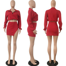 Long Sleeve Zipper Shirt + Short Skirt Set