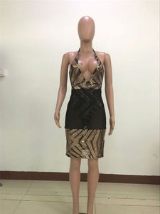 Deep V Neck Halter Backless Stripe Sequins Sheer Mesh Bodycon Celebrity Party Dress