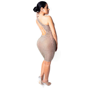 One Shoulder Shiney Studded Backless Sheath Bodycon Celebrity Party Dress