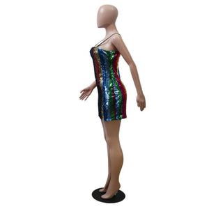 Striped Sequined Sleeveless Spaghetti Strap Striped Sequined Party Dress
