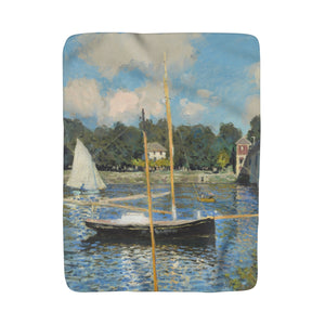 Sherpa Fleece Blanket With Claude Monet Artwork - justafive.com