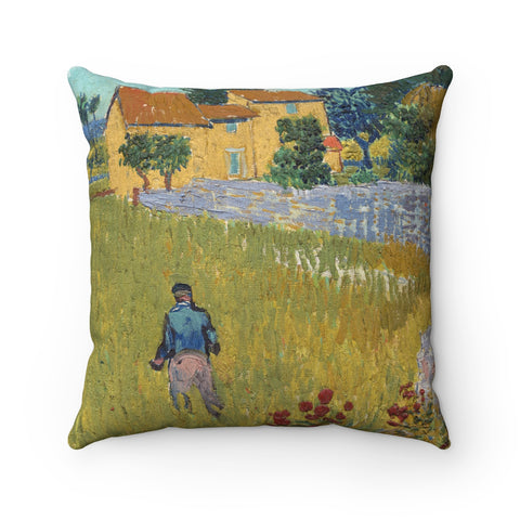 Faux Suede Square Pillow With Vincent van Gogh Artwork