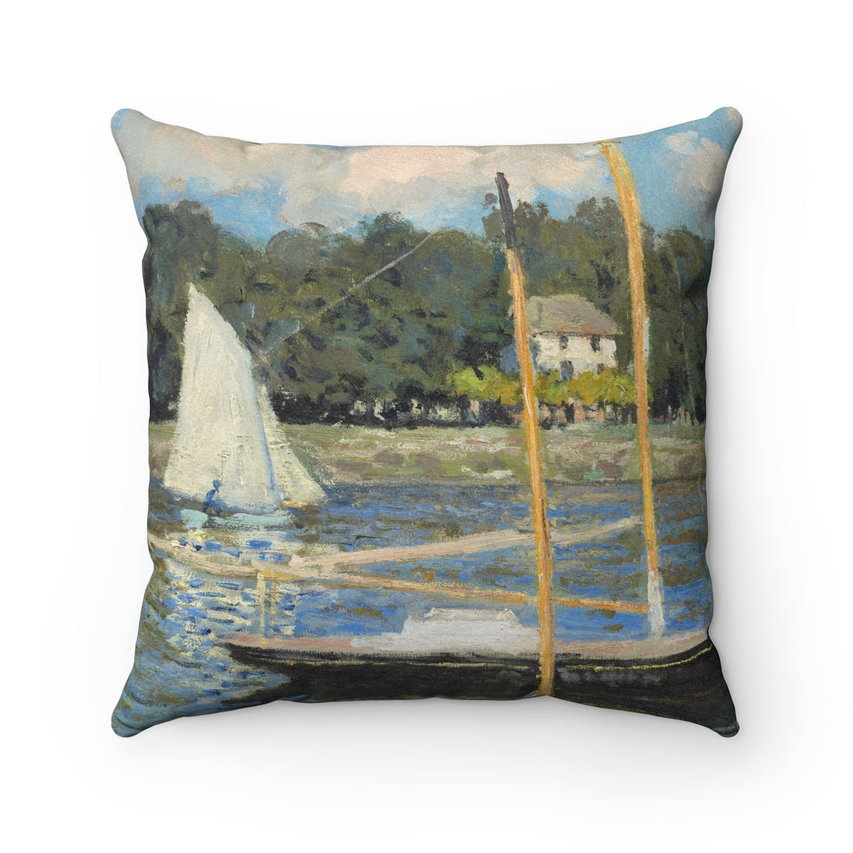 Faux Suede Square Pillow With Claude Monet Artwork