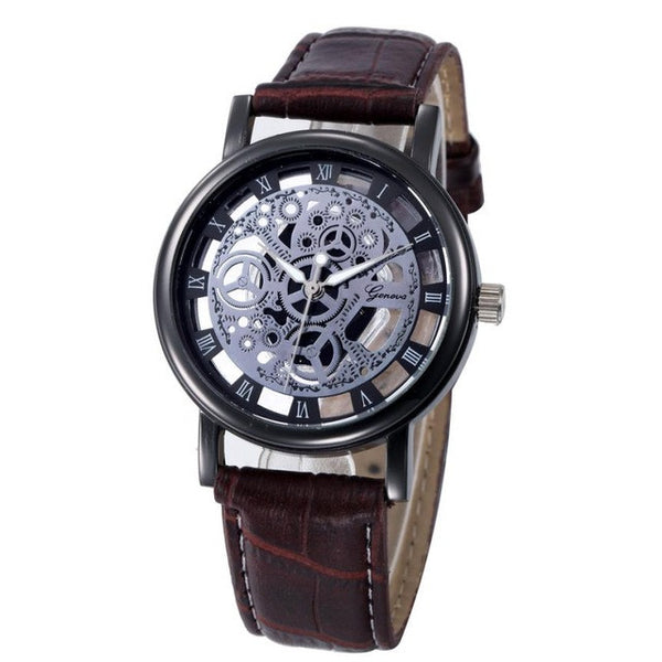 Genvivia Analogue Quartz Watch In Stainless Steel With Leather Strap - justafive.com