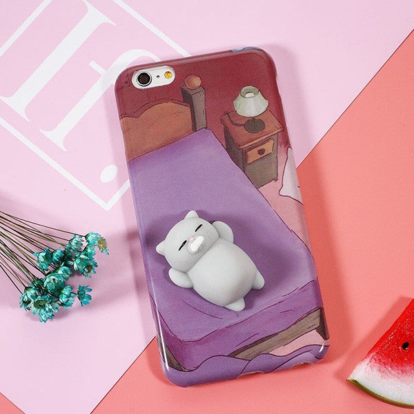 iPhone Case With 3D Cute Soft Silicone Squishy Cat - justafive.com ... ab233006c