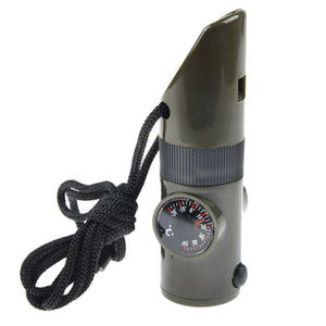 7in1 Emergency Whistle With Compass Thermometer Magnifier And LED Flashlight - justafive.com