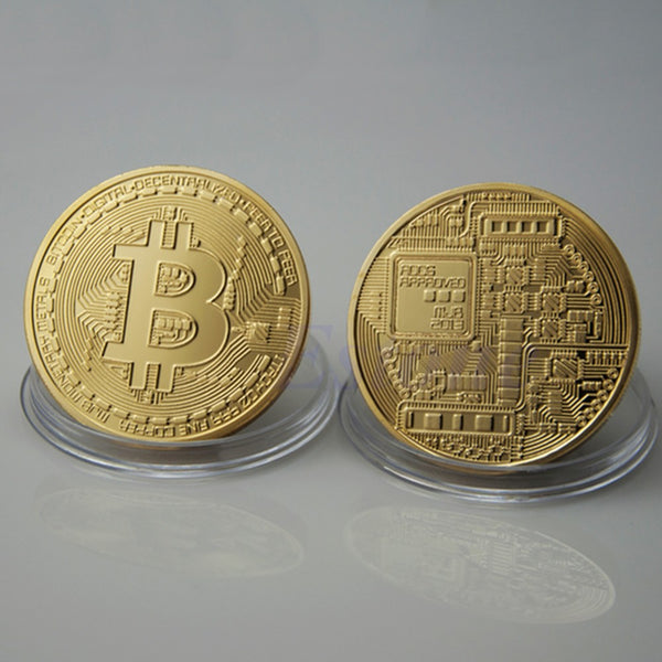 Gold Plated Bitcoin Coin Collectible BitCoin Art Collection Gift Physical - justafive.com