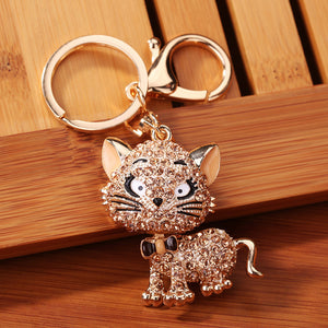 Rhinestone Cat Sparkling Charm Keychain Perfect For Handbags - justafive.com