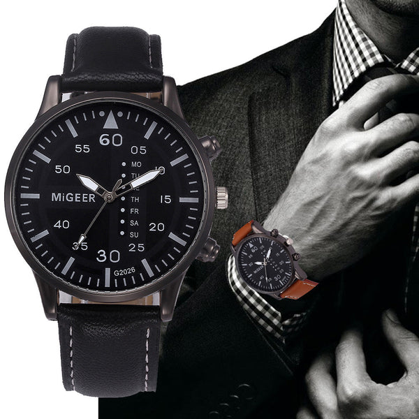 Retro Design Leather Band Analog Alloy Quartz Wrist Watch - justafive.com
