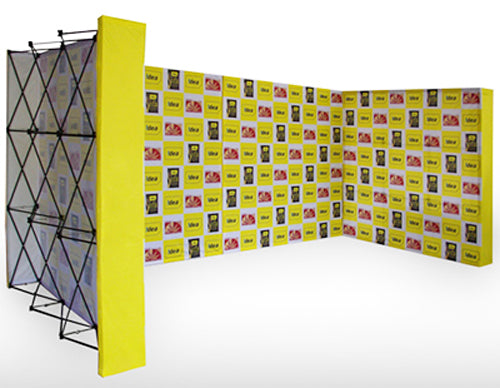 10ft Brilliant fabric popup display with endcaps Semi-Enclose a Space