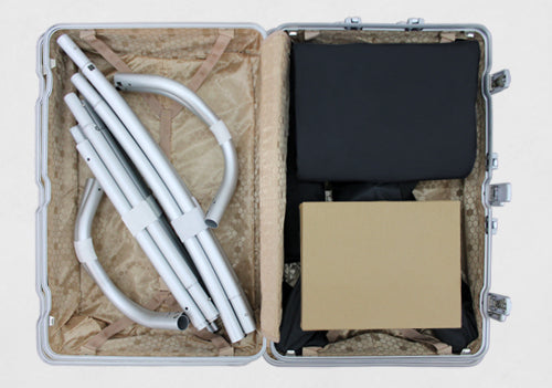 tradeshow display booth packed in a suitcase