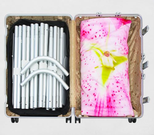 Tension fabric display airline baggage ready