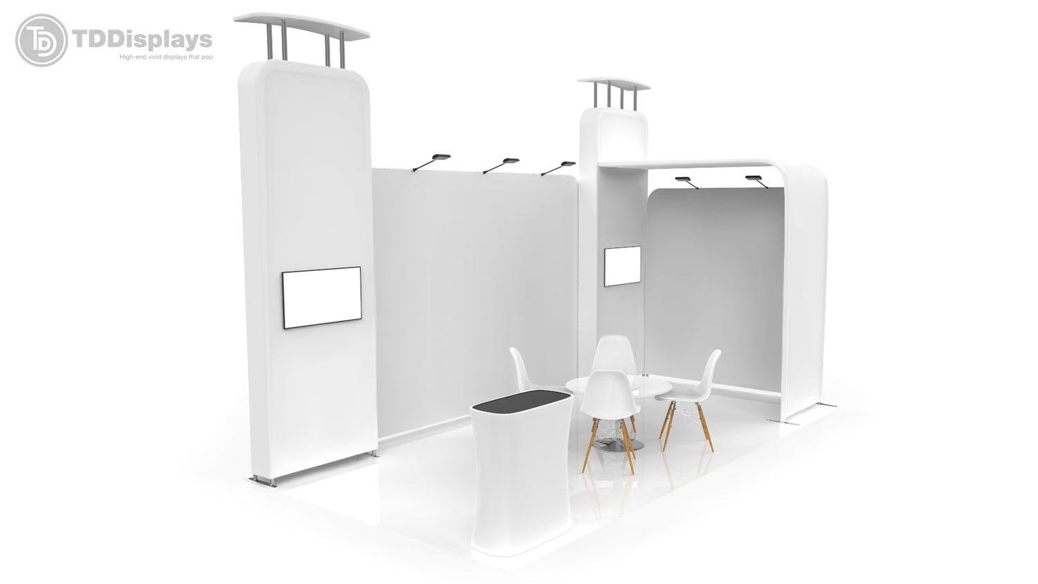 20 foot inline booth solution Pro-Package B 3D view from left