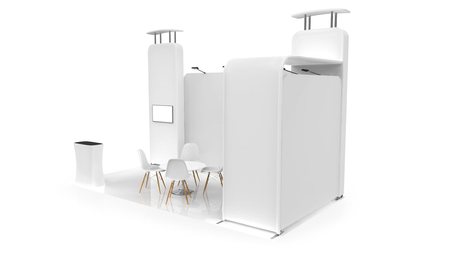 20 foot inline booth solution Pro-Package B 3D view from right
