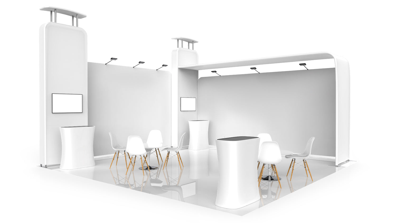 20x20 booth layout 3D model Pro-Package C corner view