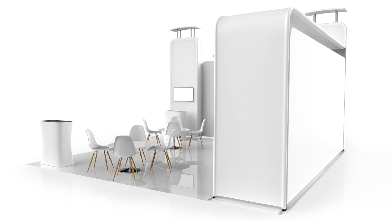 20x20 booth layout 3D model Pro-Package C right view
