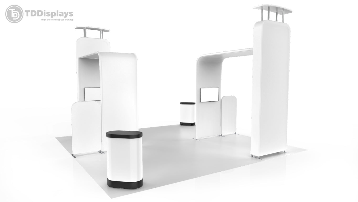 Best 20 foot island booth package Pro-Package D 3D corner view