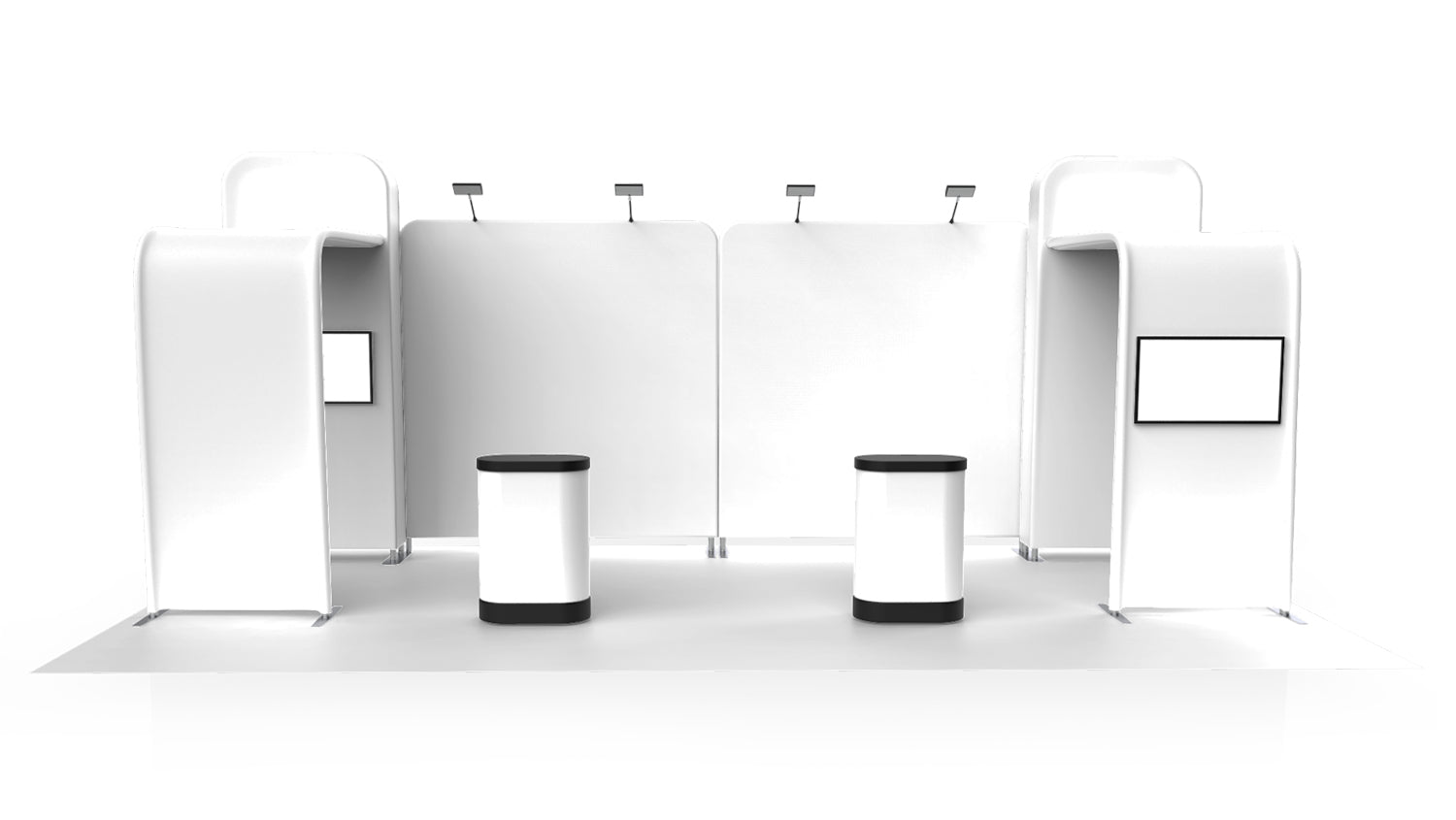 Best compact exhibit inline 20 foot made from two 10 foot packages 3D front view