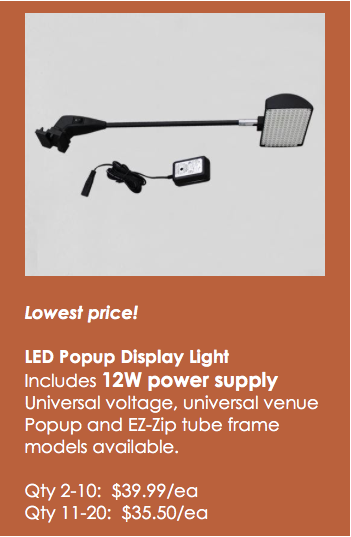 LED popup and EZ-zip lights on sale