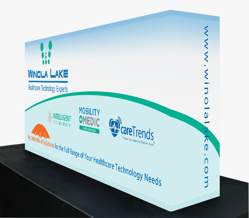 5 ft wide x 30 in high Fabric Popup Tabletop Display